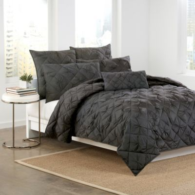 youu0027ll see why diamonds a girlu0027s best friend with the dkny diamond tuck quilt collection in charcoal this luxurious bedding is sumptuously soft and