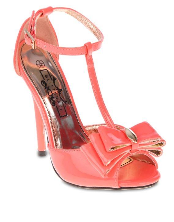 Coral Glitterati Bow Detail Heels
