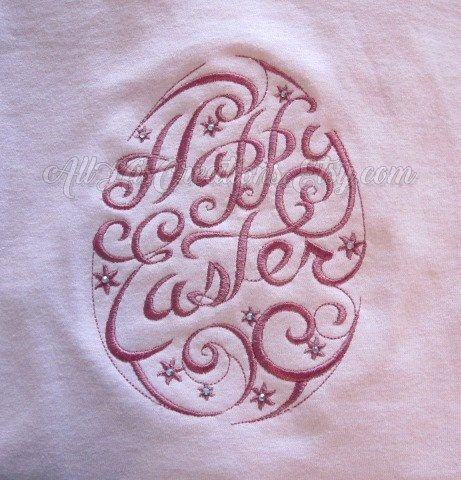 This embroidered long sleeve Easter shirt, also available in a long sleeve Easter t-shirt, has a design of swirls and curls in the shape of an Easter egg with a Happy Easter message designed inside the egg. Tiny rhinestones add a subtle sparkle to the shirt. All stitching is done