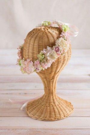 パステルピンク×グリーン 小花ナチュラル花冠 corolla#garland#wreath