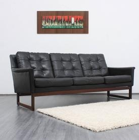 60s club sofa, black leather and mahogany