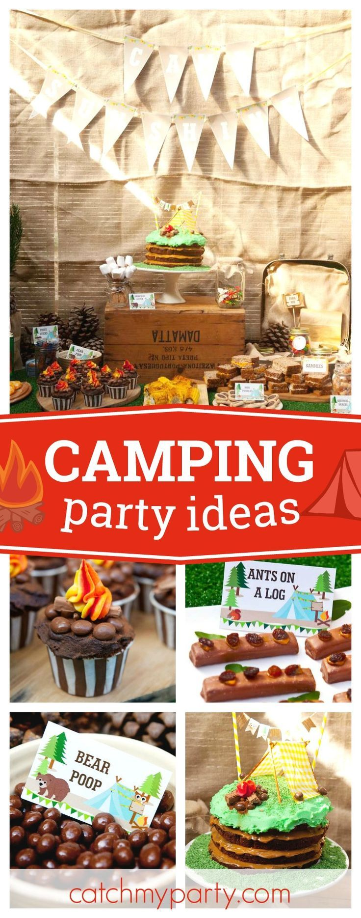 Check out this fun Summer Camp Sunshine Camping Party! The birthday cake is so cool!!! See more party ideas and share yours at CatchMyParty.com
