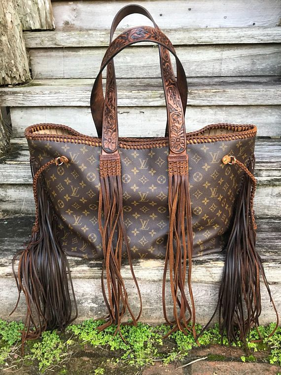 VINTAGE SWAG Vintage FRINGED Louis Vuitton Neverfull GM Wind River handbag  with custom hand tooled leather 603522209297b