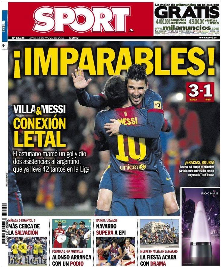 Los Titulares y Portadas de Noticias Destacadas Españolas del 18 de Marzo de 2013 del Diario Deportivo Sport ¿Que le parecio esta Portada de este Diario Español?