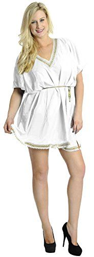 La Leela SMOOTH RAYON WOMEN Cover up Bikini Swimwear TUNIC Beach Dress White. Do YOU want COVER UPS in other colors Like Red | Pink | Orange | Violet | Purple | Yellow | Green | Turquoise | Blue | Teal | Black | Grey | White | Maroon | Brown | Mustard | Navy ,Please click on BRAND NAME LA LEELA above TITLE OR Search for LA LEELA in Search Bar of Amazon. US Size : From Regular 14 (L) TO Plus Size 28W (4X) ➤ UK SIZE : FROM REGULAR 14 (M) TO 30(XXXL) ➤ BUST : 56 Inches [ 142 cms ]➤ Length : 34…