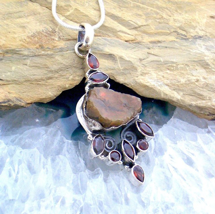 Natural Rough FIRE OPAL and Garnet Gemstones, Fire Opal (lab), 925 Sterling Silver, Leafy Design Pendant with FREE Sterling Silver Chain! by AmeogemJewellery on Etsy
