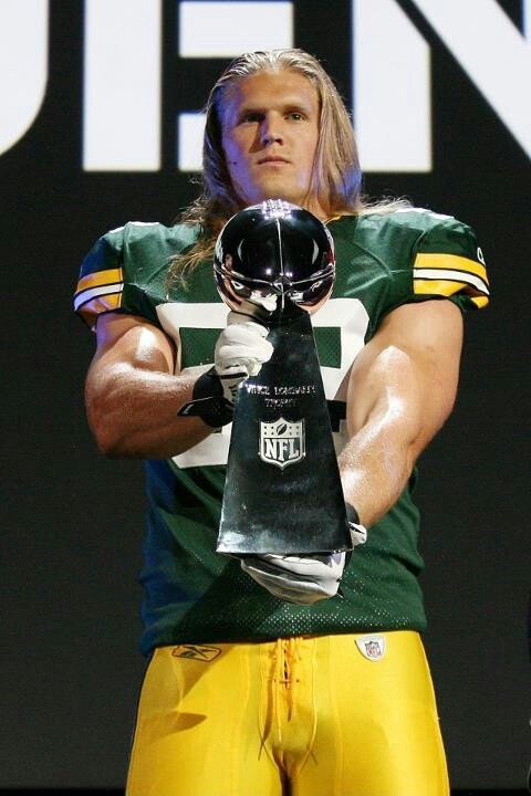 Clay Matthews, after they won the super bowl...look at those arms!  Pump iron!!
