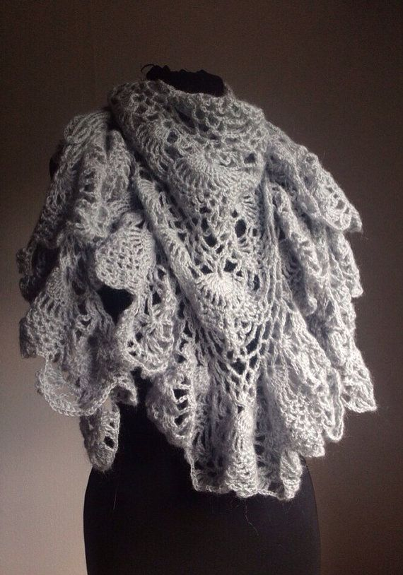 Crochet Shawl Mohair Gray Lace Wrap Triangle by katnosia on Etsy, $49.99