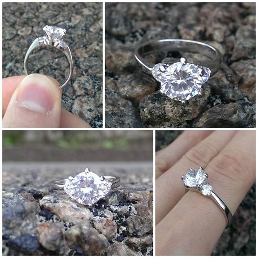 fine cz ring with white gold plating only a few left