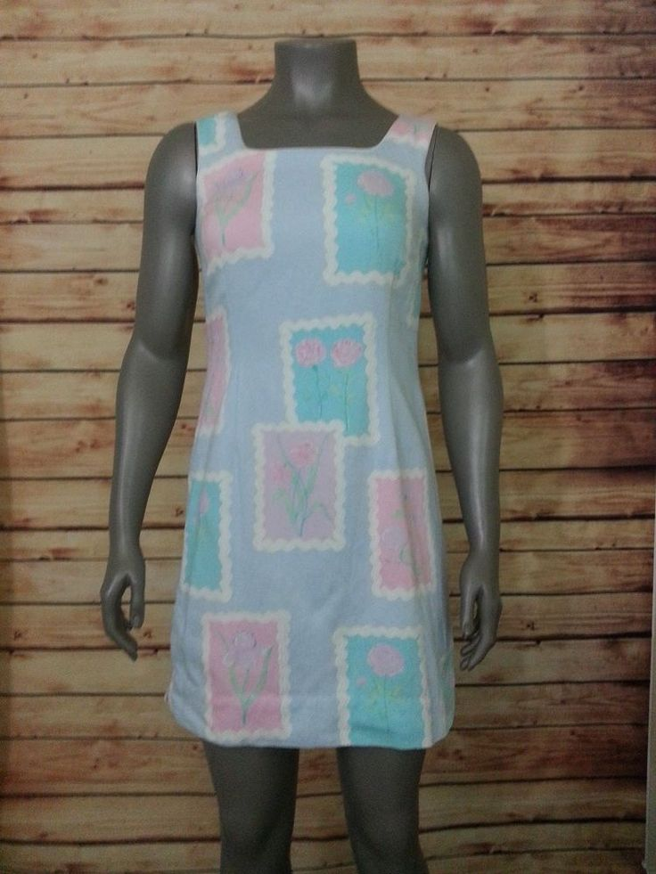 Lilly Pulitzer sheath dress floral rick rack print  light blue womens size 8 #LillyPulitzer #Sheath #Casual