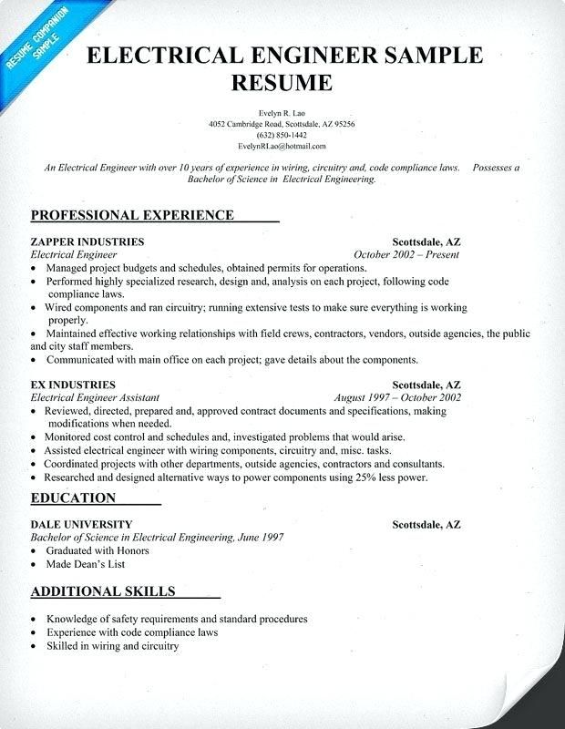 Resume Examples Electrical Engineer Resume Examples Pinterest