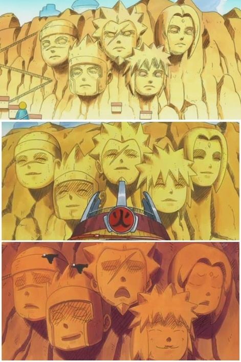 In Naruto SD, the monuments of the hokages can change facial expressions ! =^-^=