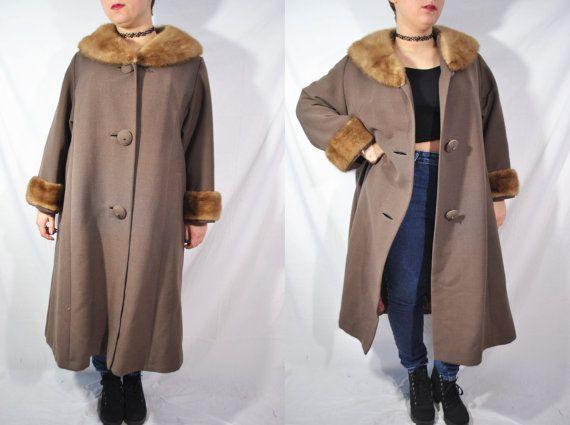 Vintage 50s piel marrón con cuello capa botón encima de chaqueta mediados siglo Swing capa noche abrigo largo Formal Mad Men abrigos de piel de visón Real