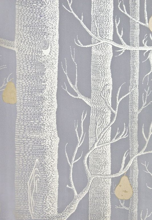 Woods & Pears Wallpaper A re-worked classic contemporary battleship grey wallpaper with the addition of gilver metallic pears on silver metallic illustrated winter trees.