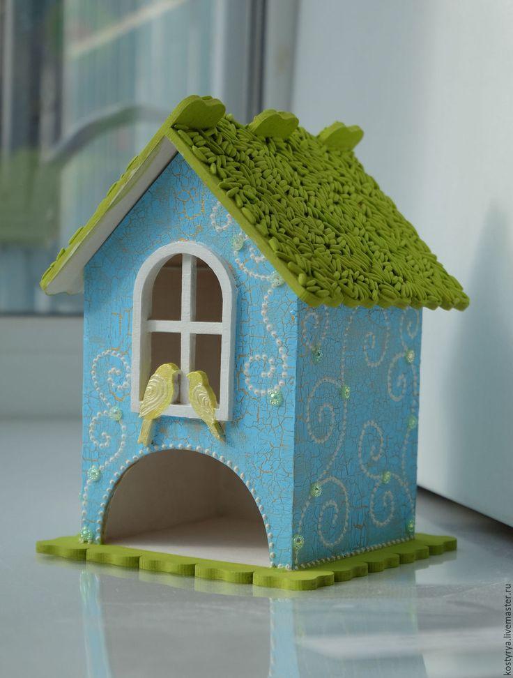 Купить Чайный домик с птичками №2 - салатовый, голубой, чайный домик, чайный домик купить