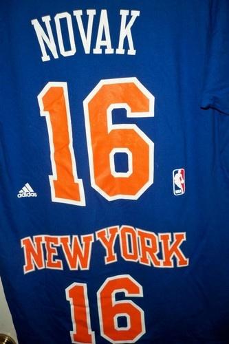 Steve Novak adidas Blue Name and Number New York Knicks T-Shirt NWT Size M