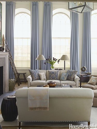 Holland & Sherry Glace curtains in Glacier, antique Fortuny fabric on pillows