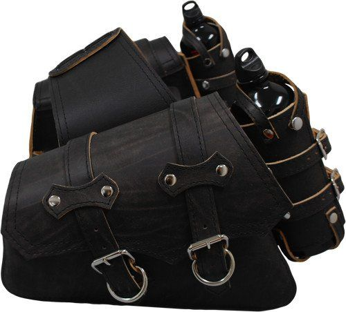 Larosa Custom Harley-Davidson Sportsters Throw Over Saddle Bag Set Rustic Black with Twin Fuel Bottle Holders