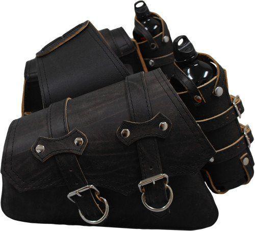 Larosa Custom Harley-Davidson Sportsters Throw Over Saddle Bag Set Rustic Black with Twin Fuel Bottle Holders