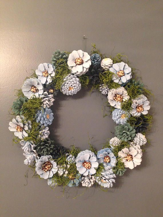 Blue Daisy Pine Cone Wreath