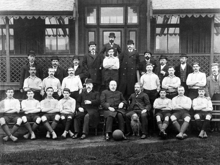 Liverpool team group: (back row of directors, l-r) J Dermott, B Bailey, S Cooper, FC Howarth, A Nisbet, H Cooper, C Gibson, HP Ellis, L Crosthwaite (middle row of players, l-r) John McCartney, Matt McQueen, captain Andrew Hannah, goalkeeper Billy McOwen, Duncan McLean, Douglas Dick, David Henderson, trainer F Whiteway (front row, l-r) Patrick Gordon, Malcolm McVean, Joe McQue, Jim McBride, John McKenna, President John Houlding, J Ramsay, Harry Bradshaw, Jimmy Stott, Hugh McQueen