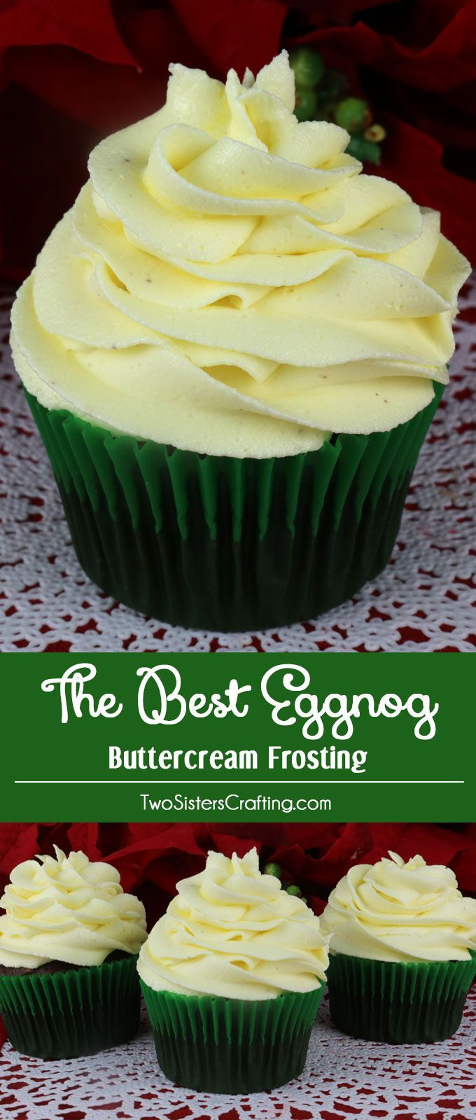 This is definitely The Best Eggnog Buttercream Frosting we have ever tasted and it is so easy to make. Sweet, creamy and delicious - and it tastes just like a glass of Eggnog. It is the perfect Holiday frosting for cupcakes, cakes or cookies! Pin this Christmas Treat for later and follow us for more great Christmas Dessert ideas.