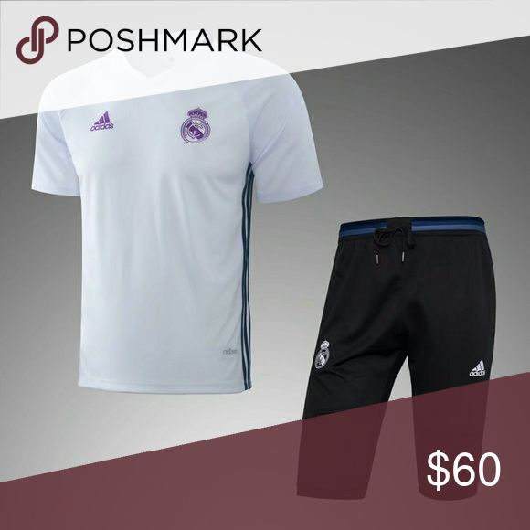 Real Madrid training set This a brand new training set shirt color white and pants 3/4 black  Prices are firm, you only get discount by adding 2 items to your bundle. Other