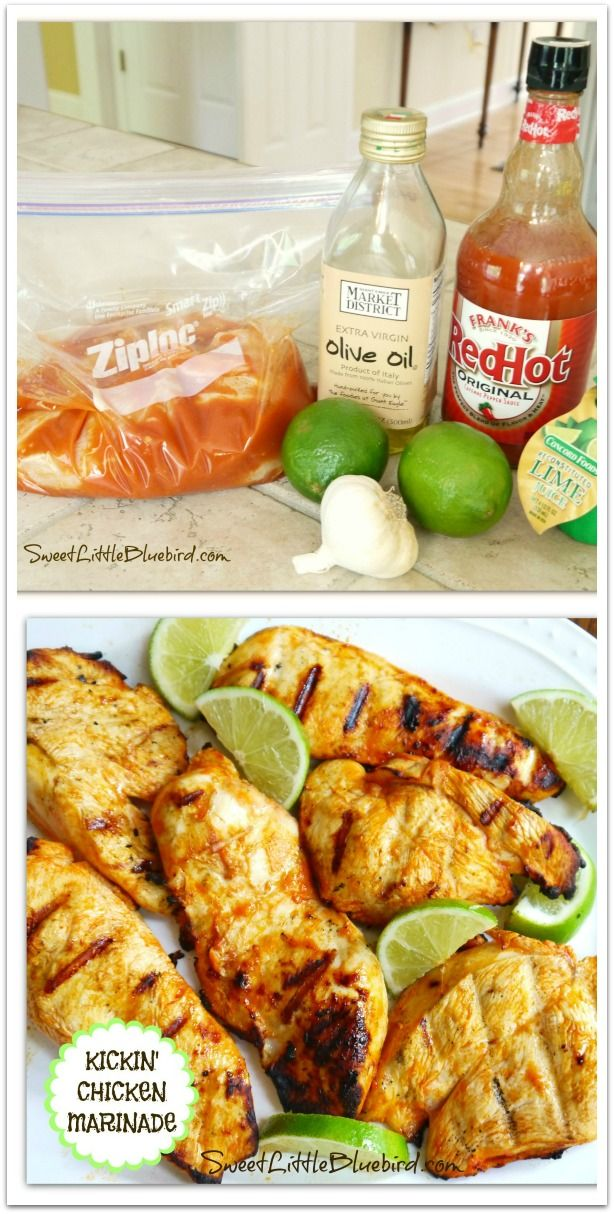 Kickin' Chicken Marinade - Buffalo Style! Only 4 ingredients {Frank's RedHot, olive oil, lime juice and garlic} So simple! So good! Also great with shrimp! | SweetLittleBluebird.com
