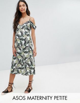 Great fit for 3rd trimester.   ASOS Maternity PETITE Cold Shoulder Midi Skater Sundress In Pineapple Print
