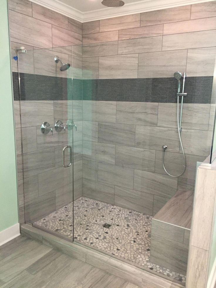 Linear design in shower Elegant Accents Tile  Design