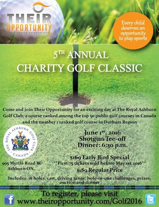 5th Annual Their Opportunity Charity Golf Tournament at Royal Ashburn Golf Club #AYRFCIWhitby #Whitby #WhitbyEvents #WhitbyEvent https://www.facebook.com/events/1571116313187241/