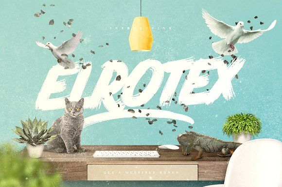 Elrotex Brush Font - New Update by Maulana Creative on @creativemarket