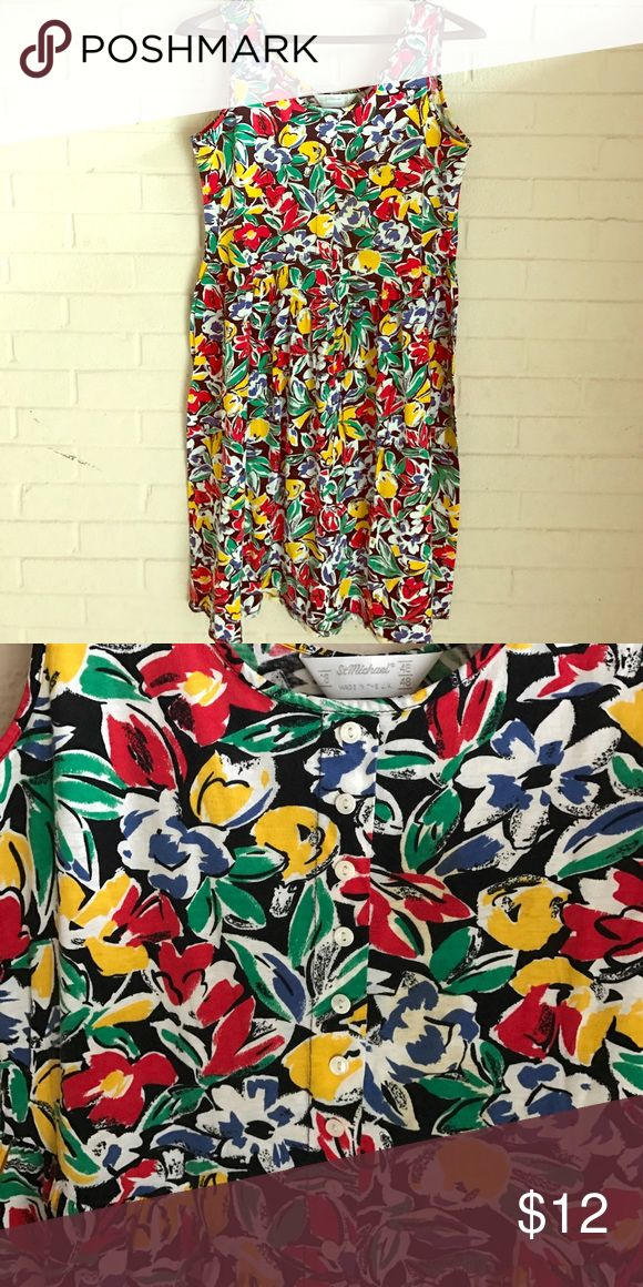 """🆕💕St.Micheal Sundress size 14/16 (U.K. 46/48) Multi Colored Sundress fits bust 40""""and hips 42"""" 100%Cotton St Micheal Dresses Midi"""