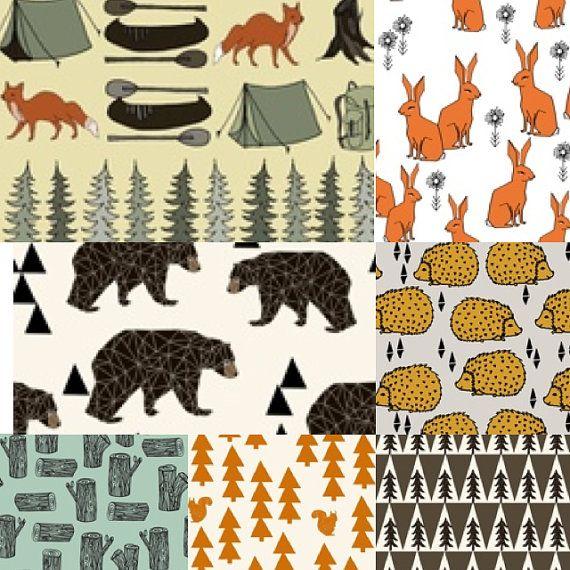 Fitted crib sheet woodlands critters, deer, bear, fox, rabbit, trees, camping