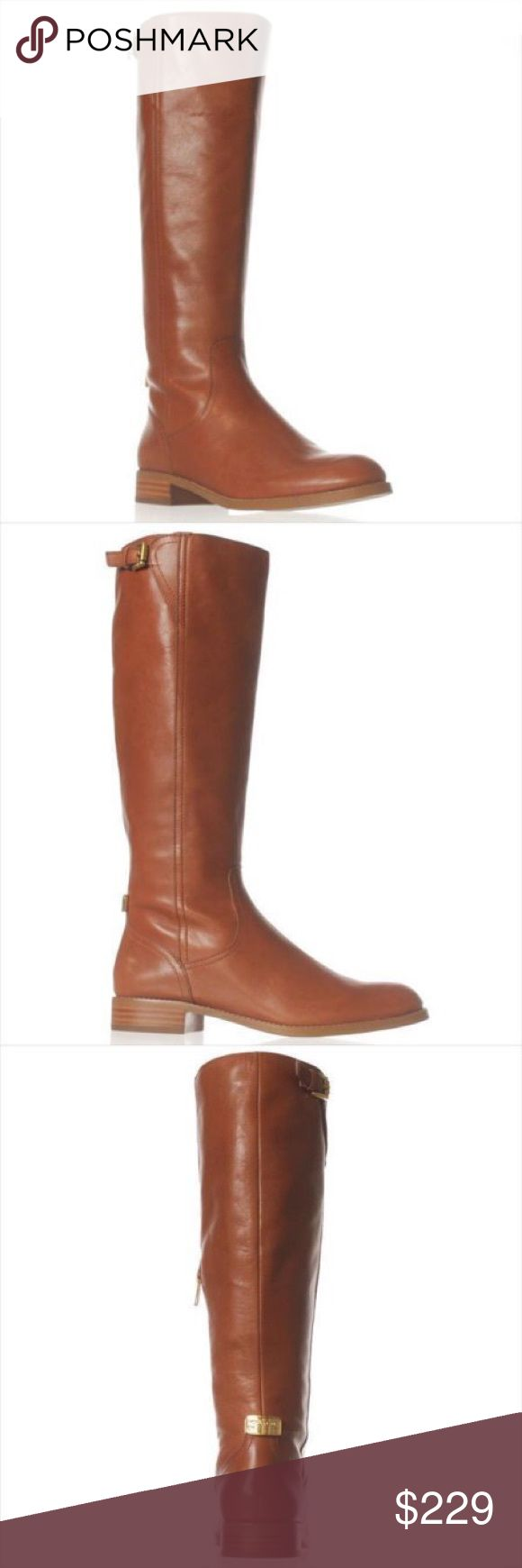 COACH Mirriam Riding Boots Cinnamon A6851 Brand: Coach Heel: 1.00 inches (2.54 CM) Material: Leather Color: Cinnamon Toe-Shape: Round Toe The boot shaft measures approximately 15.50 inches (39.37 CM) tall and has an opening of 15.50 inches (39.37 CM) Coach Shoes