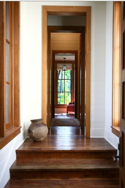 Oak Windows And Frame White Baseboards Dark Wood Trim
