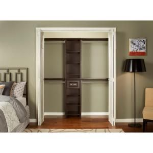 ClosetMaid Impressions Chocolate 16 in. Narrow Closet Kit-30851 at The Home Depot (between 4-9 feet: fits the back wall for the attic closet perfectly)