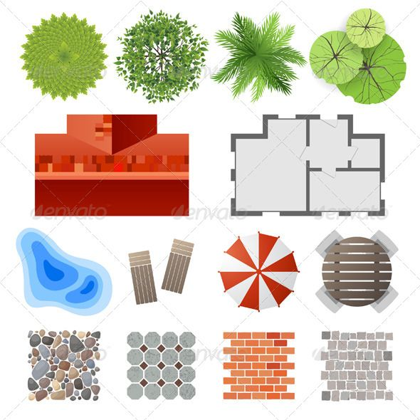Elements for Landscape Design  #GraphicRiver         Highly detailed landscape design elements – easy to make your own plan! Eps 10 and Ai CS 3 included.     Created: 16October13 GraphicsFilesIncluded: VectorEPS #AIIllustrator Layered: No MinimumAdobeCSVersion: CS3 Tags: blueprint #brick #buildings #bush #design #gardening #gardens #grass #homes #house #landscapes #lawn #nature #outdoors #palm #pattern #plan #plants #pool #roof #stone #table #top #tree #umbrella #vector #view #wall #water…