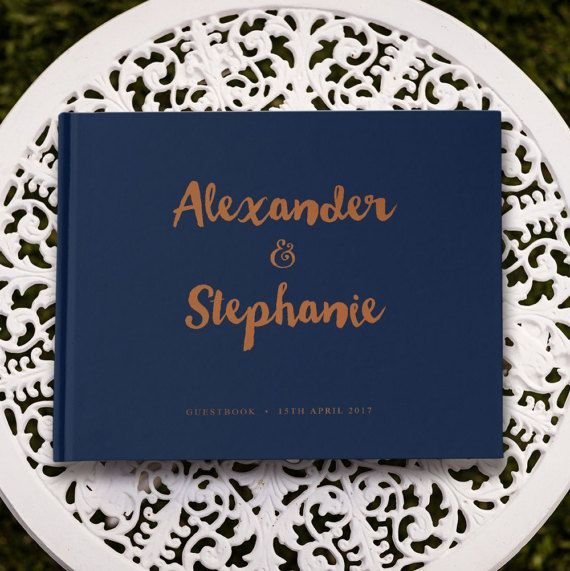 Copper Wedding Guestbook Navy Guest Book Navy by PaperBoundLove