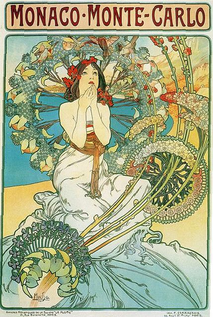 """""""Monaco Monte Carlo,"""" Alphonse Mucha 1897. The pensive female figure seems mesmerized by the plethora of stylized plant forms surrounding her."""