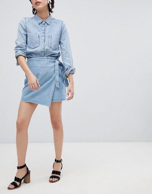 4731380b6f Noisy May acid wash wrap denim mini skirt in 2019