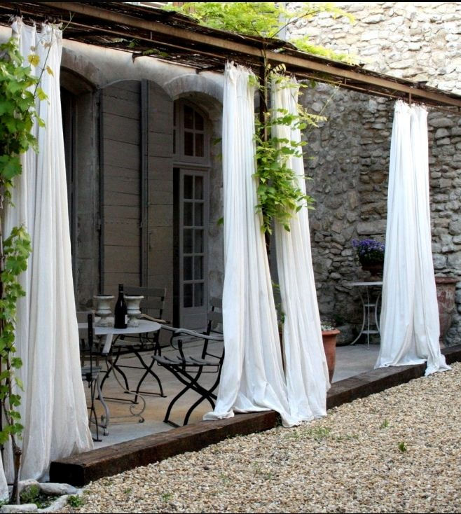 White Curtains French Pergola Outdoor Rooms Porches Patio Pinte