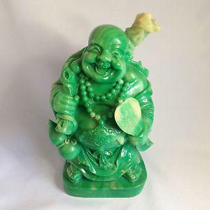 Jade Green Buddha Statue Laughing Budai Hotei With Fan Wu