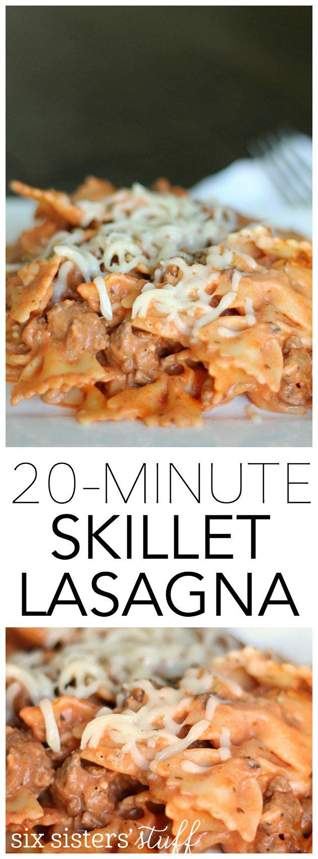 Easy Skillet Lasagna that can be made in just 20 minutes!  SixSistersStuff.com  Good. Could double so have left overs. Kids liked it.