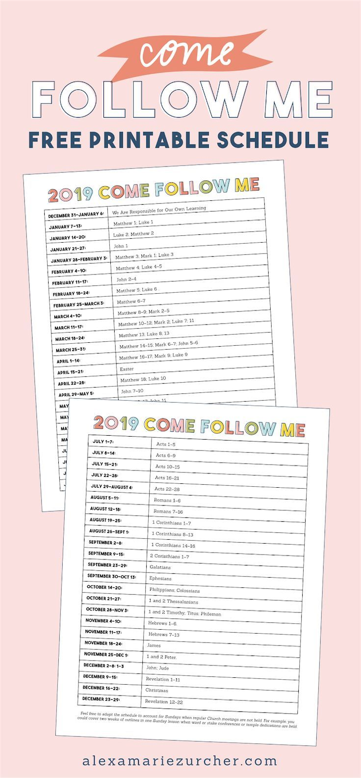 2019 Come Follow Me Free Schedule Printable With Images
