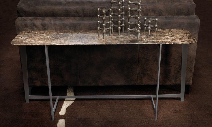 B190 by BORZALINO - Console and back sofa - Metal base and marble top - #coffee tables #furniture #sofa #chair #armchair #carlobimbi