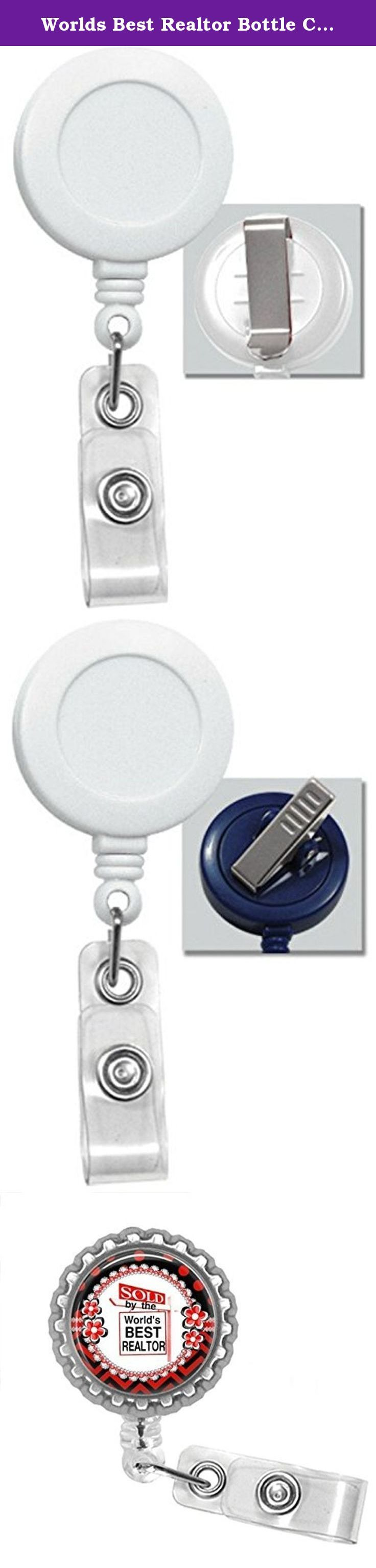 Worlds Best Realtor Bottle Cap Retractable Badge ID Holder. Worlds best realtor bottlecap badge reel is a great item to hang your work or school Id's from. Badge is 1.25 in diameter. The badge also is a Retractable badge with your choice of either a clip or a swivel alligator clip Pictures 2 is a slide clip picture 3 is an alligator clip The retractable cord is 24 inches Badge reel says Sold By World's Best Realtor on it. The color of the badge reel is white.