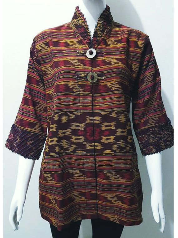 Tenun Ikat Blouse Collared Maroon Large