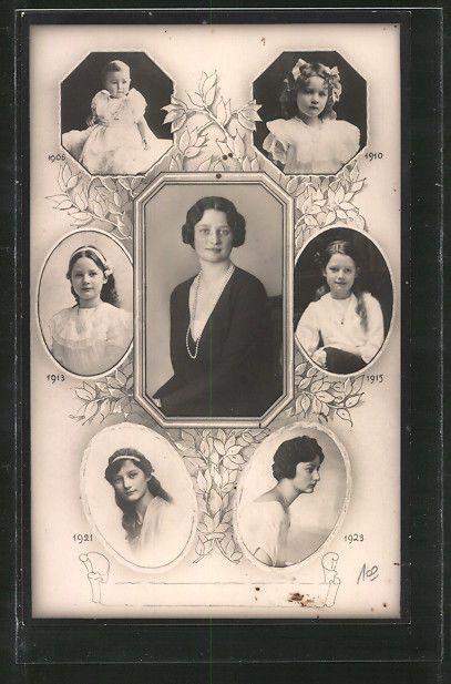 AK Astrid, Prinzessin von Schweden, Königin der Belgier, Portraits 1906-1923