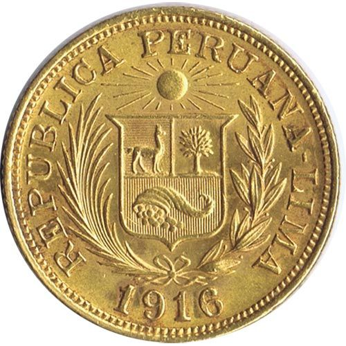 Moneda de oro 1 libra Republica Peruana. Lima.
